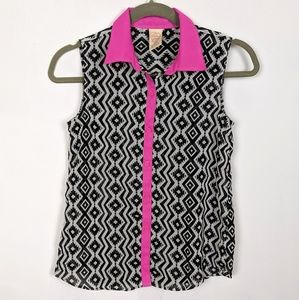 Girls Sheer Button Down Sleeveless Top 10/12